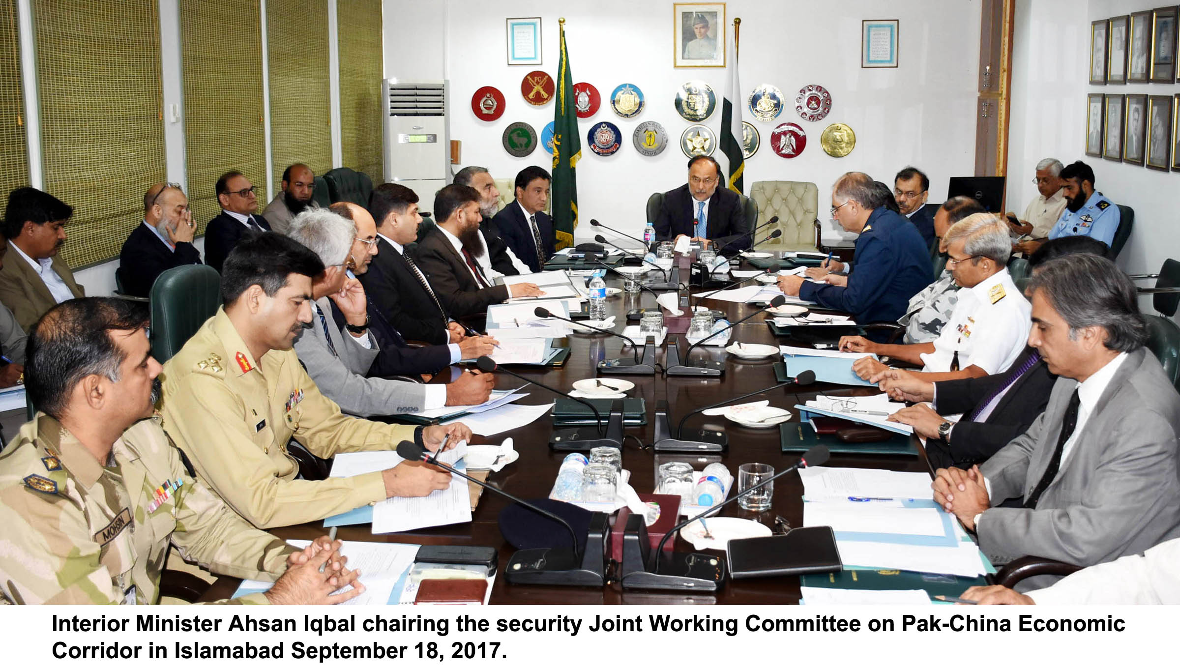 Security Joint Working Committee Meeting on CPEC on 18 September 2017