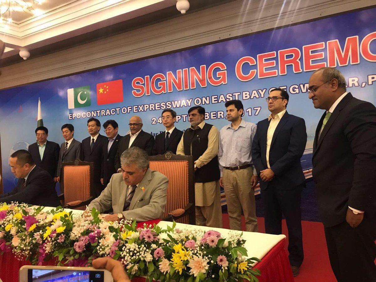 EPC Contract Signing Ceremony of Gwadar East Bay Express on Gwadar 24 September 2017